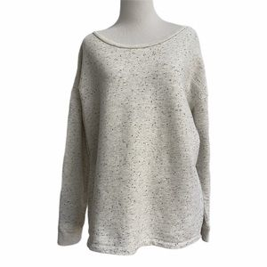 Liz Claiborne Marled Sweatshirt Top Lace Up Back